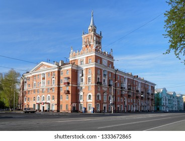 KOMSOMOLSK-ON-AMUR, RUSSIA - MAY 22, 2011: The Building with Spire. The building was constructed in 1956 and it is the unofficial symbol of Komsomolsk-on-Amur.