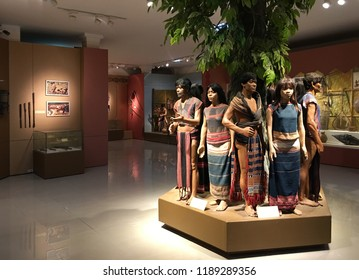KON TUM, VIETNAM - SEPTEMBER 2018: Dummies representing ethnic groups of Kon Tum province in the city museum. The city is located in the Central Highlands region near borders with Laos and Cambodia.