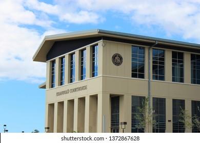 Kona, Hawaii / USA - April 16th, 2019: The new $96 million Keahuolu Courthouse on the Big Island of Hawaii is Kona's first centralized judiciary complex.