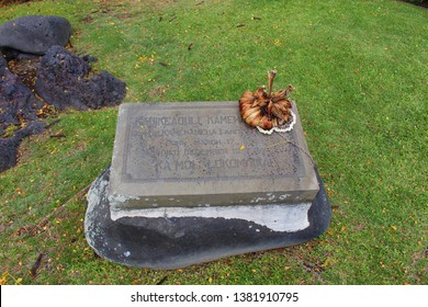 Kona, Hawaii / USA - April 24th, 2019: Kauikeaouli Kamehameha III was born here. Stillborn, he was cleansed in the waters of Ka'opa spring at the edge of the bay and revived as he laid upon this rock.