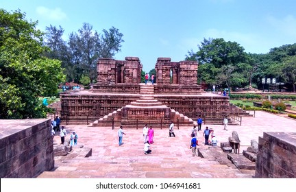 Konark, Odisha / India - 22nd May 2017 : Front view of Sun Temple Nata Mandir with tourists visiting the historic place
