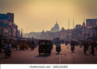Konark, Odisha, India - January 10, 2014 - Square in front of Jagannath temple and Main Road, view from the Main Road.