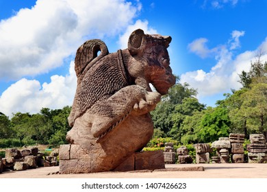 Konark Sun Temple in Odisha, India. It is a 13th-century CE sun temple at Konark about 35 K.M. northeast from Puri on the coastline of Odisha, India. Ancient ruin statue of Konark Sun temple.