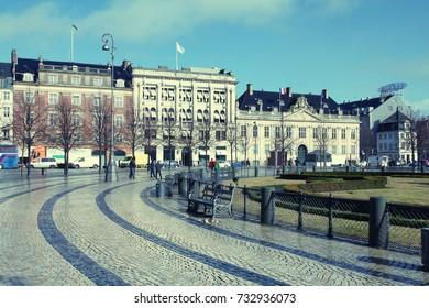 Kongens Nytorv square in Copenhagen. Retro filter stylized colors.