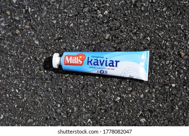 Kongsvinger, Norway - 17 July 2020: Mills Kaviar original sign on tube package isolated traditional raw fish eggs Norwegian spread food