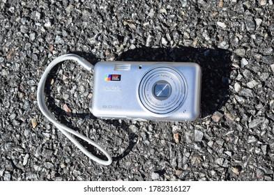 Kongsvinger, Norway - 17 July 2020:  Kodak retinar Aspheric All glass lens  color science 8 megapixels sign on isolated camera product