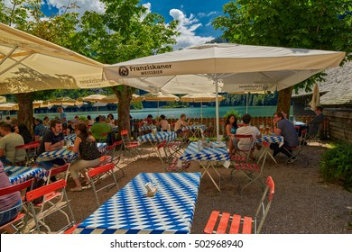KONIGSEE, BAVARIA GERMANY - 10 Aug 2016: Konigsee Bavarian Village Beer Garden