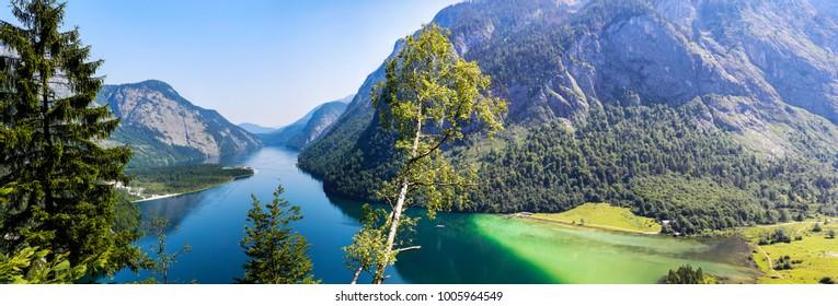 Konigssee Idyllic alpine lake in Berchtesgaden, Bavaria, Germany