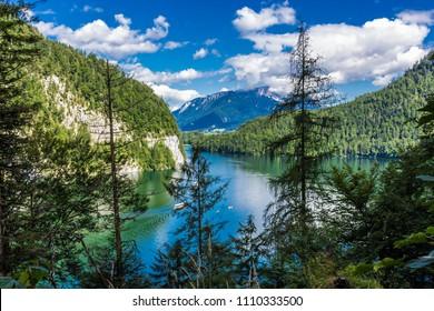 Konigssee Idyllic alpine lake in Berchtesgaden, Bavaria, Germany, Koenigssee, Königssee