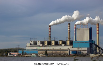 Konin, Poland. View of the working power station, smoking chimneys.