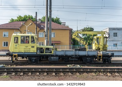 Konotop, Ukraine - May 16, 2019: Motor coach AGD-1A for repair of the railroad at Konotop station in the summertime in the afternoon