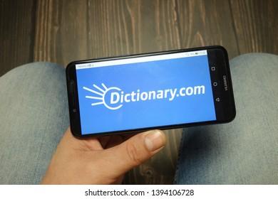 KONSKIE, POLAND - 05 MAY, 2019: Dictionary com logo displayed on Huawei smartphone