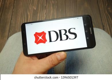 KONSKIE, POLAND - 05 MAY, 2019: DBS Bank logo displayed on Huawei smartphone