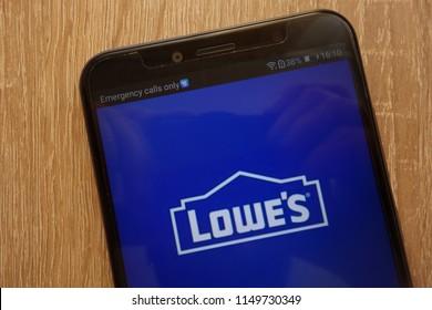 KONSKIE, POLAND - AUGUST 04, 2018: Lowe`s logo displayed on a modern smartphone