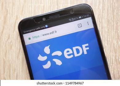 KONSKIE, POLAND - AUGUST 04, 2018: Electricite de France website displayed on a modern smartphone