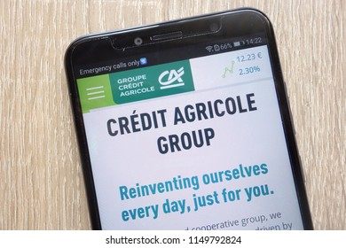 KONSKIE, POLAND - AUGUST 04, 2018: Credit Agricole website displayed on a modern smartphone