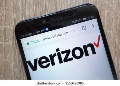 KONSKIE, POLAND - AUGUST 04, 2018: Verizon website displayed on a modern smartphone