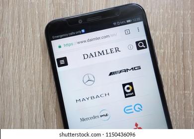 KONSKIE, POLAND - AUGUST 04, 2018: Daimler website displayed on a modern smartphone