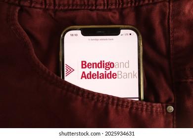 KONSKIE, POLAND - August 04, 2021: Bendigo and Adelaide Bank logo displayed on mobile phone