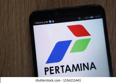 KONSKIE, POLAND - AUGUST 11, 2018: Pertamina logo displayed on a modern smartphone