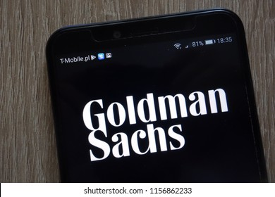 KONSKIE, POLAND - AUGUST 11, 2018: Goldman Sachs Group logo displayed on a modern smartphone