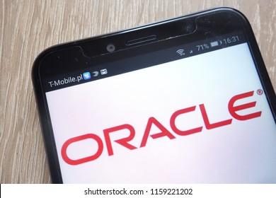 KONSKIE, POLAND - AUGUST 16, 2018: Oracle logo displayed on a modern smartphone