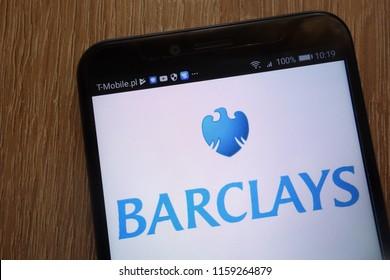 KONSKIE, POLAND - AUGUST 18, 2018: Barclays logo displayed on a modern smartphone