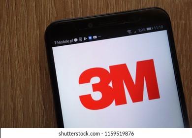 KONSKIE, POLAND - AUGUST 18, 2018: 3M logo displayed on a modern smartphone