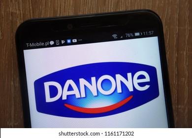 KONSKIE, POLAND - AUGUST 18, 2018: Danone logo displayed on a modern smartphone