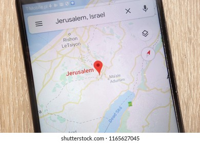 KONSKIE, POLAND - AUGUST 25, 2018: Jerusalem location on Google Maps displayed on a modern smartphone