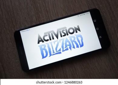 KONSKIE, POLAND - December 01, 2018: Activision Blizzard Inc. logo displayed on smartphone