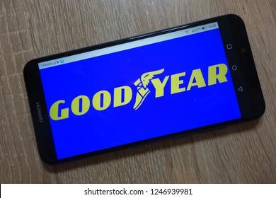KONSKIE, POLAND - December 01, 2018: Goodyear Tire & Rubber Company logo displayed on smartphone