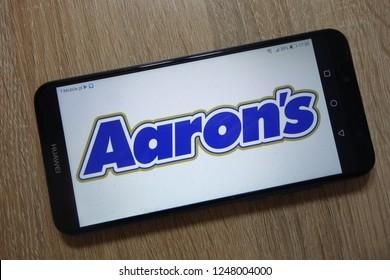 KONSKIE, POLAND - December 01, 2018: Aaron`s, Inc. logo displayed on smartphone