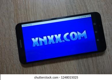 KONSKIE, POLAND - December 01, 2018: Xnxx.com logo displayed on  smartphone