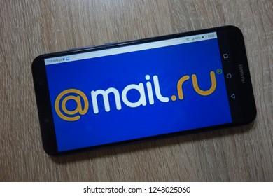 KONSKIE, POLAND - December 01, 2018: Mail.Ru logo displayed on  smartphone