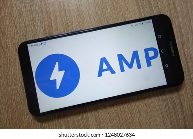 KONSKIE, POLAND - December 01, 2018: AMP Project logo displayed  on smartphone