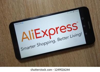 KONSKIE, POLAND - December 01, 2018: AliExpress logo displayed on smartphone