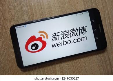 KONSKIE, POLAND - December 01, 2018: Sina Weibo (weibo.com) logo displayed on smartphone