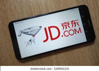 KONSKIE, POLAND - December 01, 2018: JD.com, Inc. (Jingdong) logo displayed on smartphone