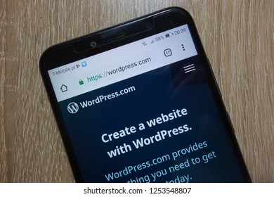 KONSKIE, POLAND - December 01, 2018: WordPress website (wordpress.com) displayed on smartphone