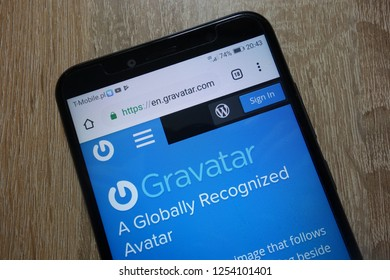 KONSKIE, POLAND - December 04, 2018: Gravatar website (en.gravatar.com) displayed on smartphone