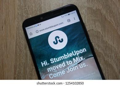 KONSKIE, POLAND - December 04, 2018: StumbleUpon website (www.stumbleupon.com) displayed on smartphone