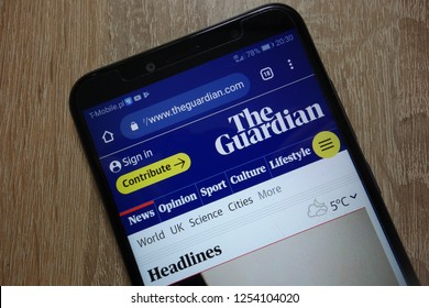 KONSKIE, POLAND - December 04, 2018: The Guardian website (theguardian.com) displayed on smartphone