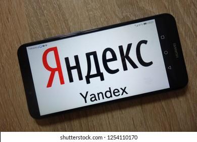 KONSKIE, POLAND - December 04, 2018: Yandex logo displayed on  smartphone