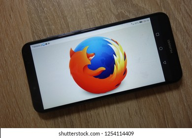 KONSKIE, POLAND - December 04, 2018: Mozilla Firefox logo displayed on smartphone
