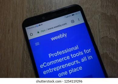 KONSKIE, POLAND - December 04, 2018: Weebly (weebly.com) website displayed on smartphone