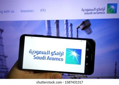 KONSKIE, POLAND - December 07, 2019: Saudi Aramco logo displayed on mobile phone
