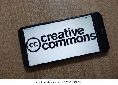 KONSKIE, POLAND - December 09, 2018: Creative Commons logo displayed on smartphone