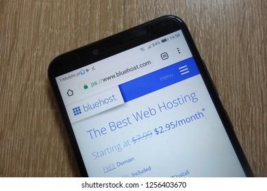 KONSKIE, POLAND - December 09, 2018: Bluehost website  (www.bluehost.com) displayed on smartphone
