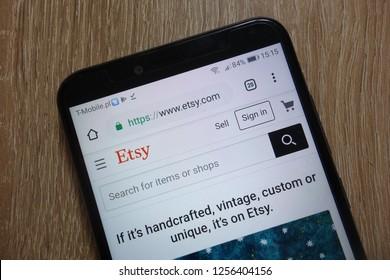 KONSKIE, POLAND - December 09, 2018: Etsy website (www.etsy.com) displayed on smartphone